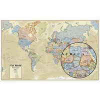 Geographic Hemispheres Wall Map of the World with Antique Style - Large Size Wall Art (96.5cm x 155cm) - Includes Country Flags and Populations
