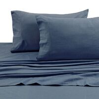 Tribeca Living 170 GSM Solid Flannel Deep Pocket California King Sheet Set in Midnight Blue