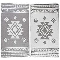 Bersuse 100% Cotton Lightweight Quick Dry Beach Towel -Uxmal Dual-Layer Handloom Turkish -  95cm x 175cm Silver Gray