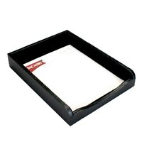 Dacasso Crocodile Embossed Leather Letter Tray, Black